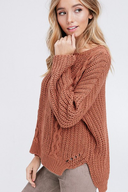 chunky cable knit pullover - orangeshine.com