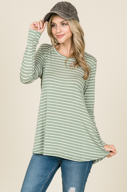 LONG SLEEVE EASY FIT STRIPE TOP - orangeshine.com