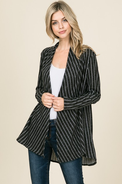 STRIPED OPEN FRONT CARDIGAN - orangeshine.com