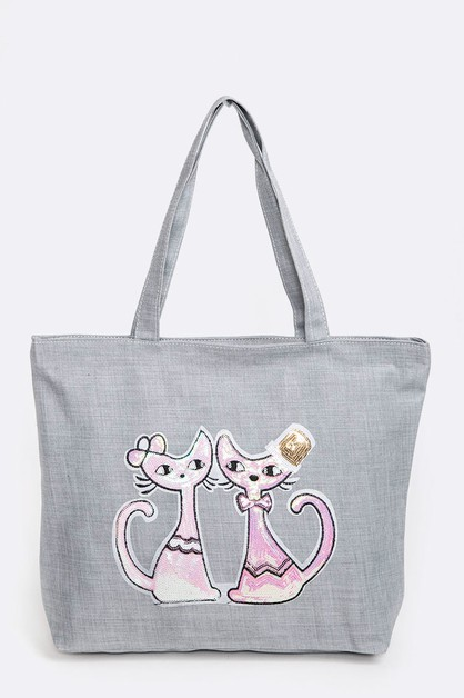 Love Cats Sequin Patch Tote - orangeshine.com