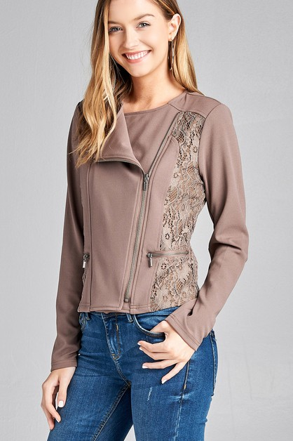 LONG SLEEVE LACE DETAIL CROP JACKET - orangeshine.com