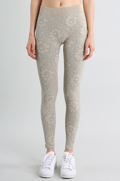Floral Lace-Look Long Leggings - orangeshine.com