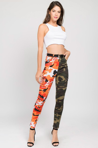 HALF AND HALF COLOR CAMO CARGO PANTS - orangeshine.com