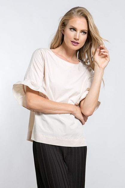RUFFLE HEM SLEEVE TOP - orangeshine.com