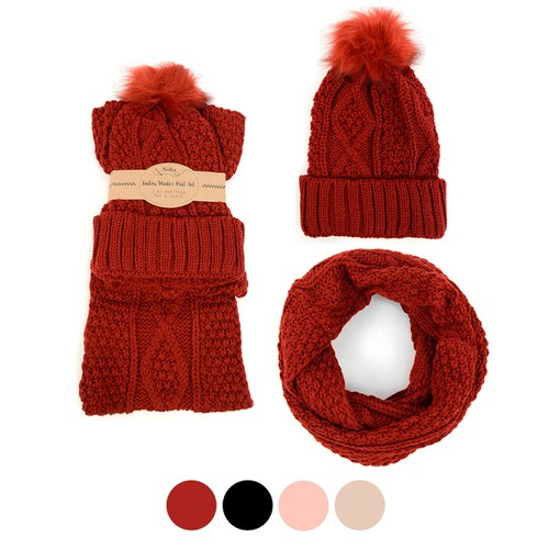 Ladies Knit Hat and Scarf Winter Set - orangeshine.com
