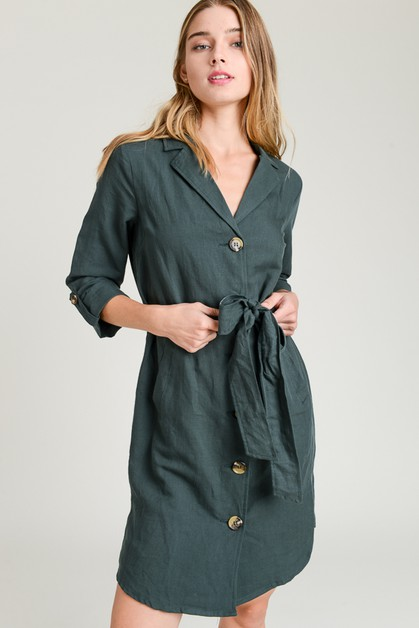 Linen Trench Inspired Dress - orangeshine.com