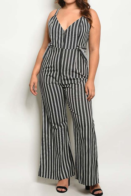 STRIPE V NECK WIDE LEG PLUS JUMPSUIT - orangeshine.com