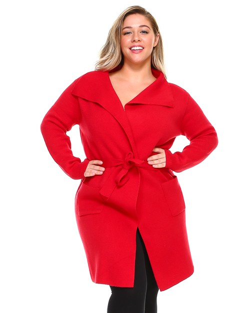 -Plus Size Crossover Belted Sweater  - orangeshine.com
