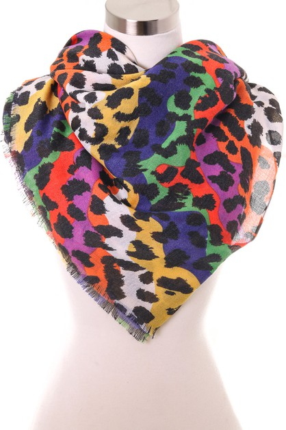 Thin Colorful Leopard Print Scarf - orangeshine.com