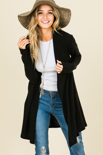 LOOSE FIT SOLID OPEN FRONT CARDIGAN - orangeshine.com
