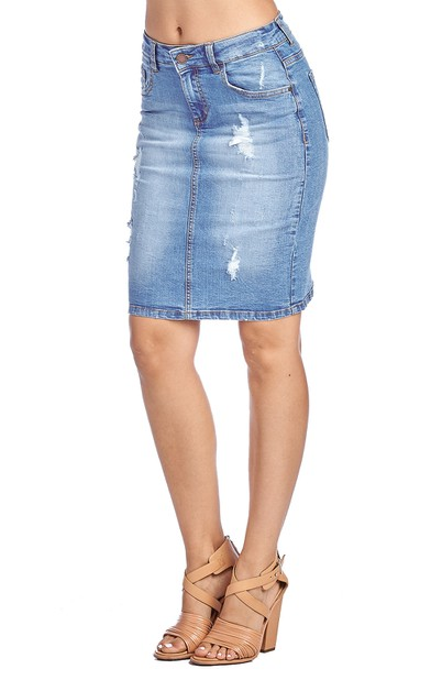 DESTROYED DENIM SKIRT - orangeshine.com