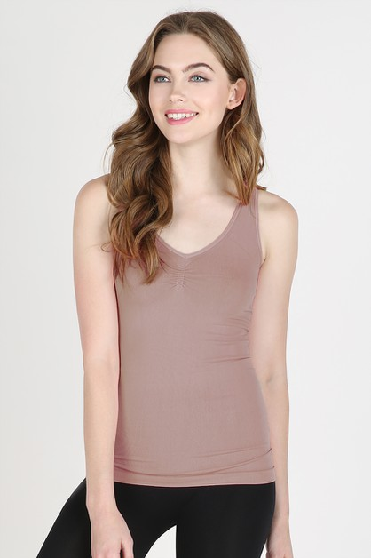V-Neck Front Shirring Tank - orangeshine.com