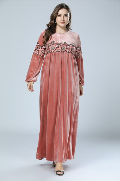 Solid velvet Embroidered Maxi Dress  - orangeshine.com