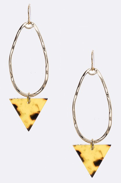Celluloid Triangle Drop Hoop Earring - orangeshine.com