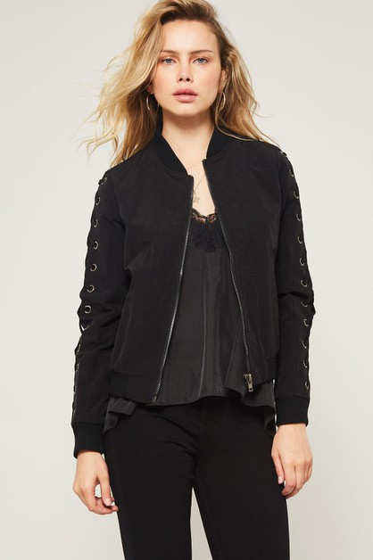 Lace Up Sleeve Bomber Jacket - orangeshine.com