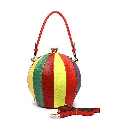 Ostrich Fashion Top Handle Ball Bag - orangeshine.com