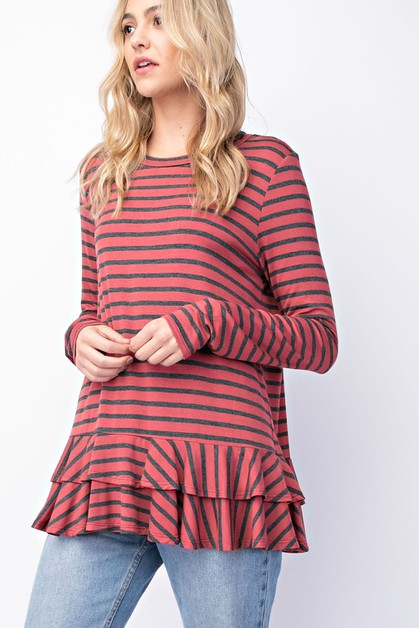 Bamboo Striped Ruffle Top - orangeshine.com