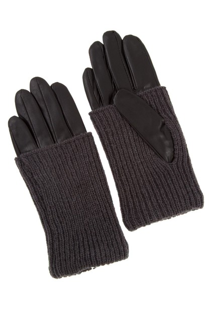 FAUX LEATHER AND KNIT FASHION GLOVE - orangeshine.com