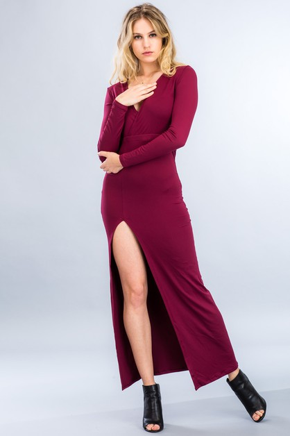 Surplice Maxi Dress - orangeshine.com