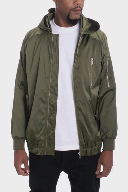 HOODED SATIN BOMBER JACKETS - orangeshine.com