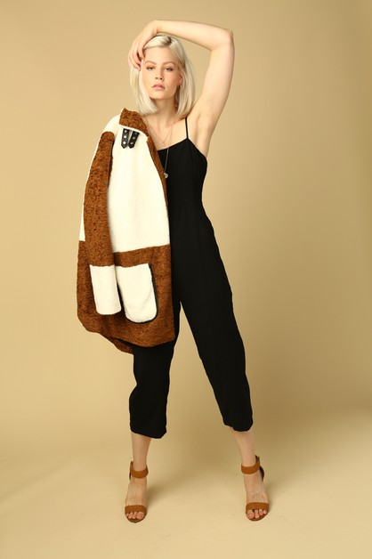 Shearling color block coat - orangeshine.com