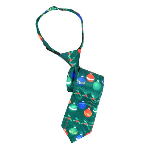 Boy Christmas Ball Green Zipper Tie - orangeshine.com