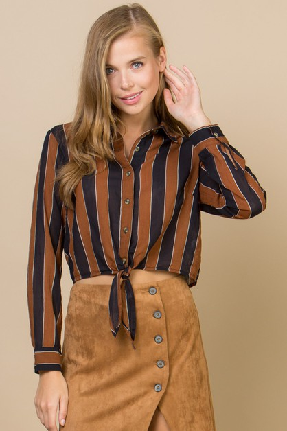 COTTON STRIPE BLOUSE WITH FRONT TIE - orangeshine.com