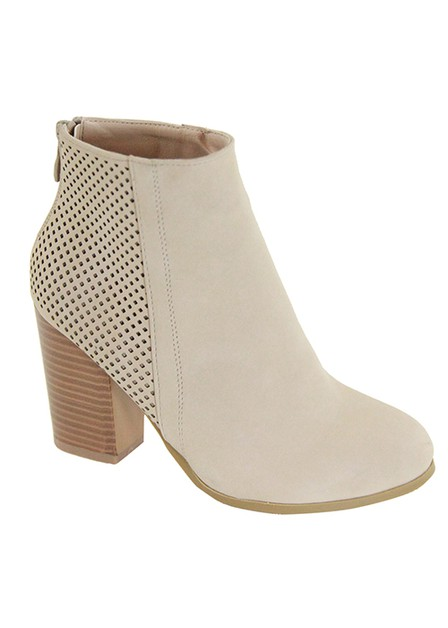 SUEDE CHUNKY HEEL BOOTIE PERFORATED  - orangeshine.com
