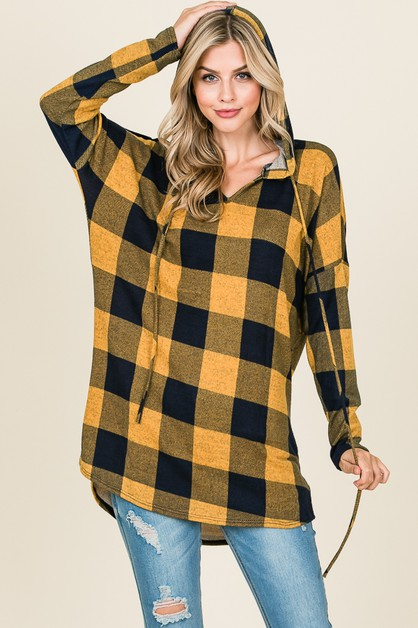 LONG SLEEVE V-NECK PLAID HOODIE  - orangeshine.com