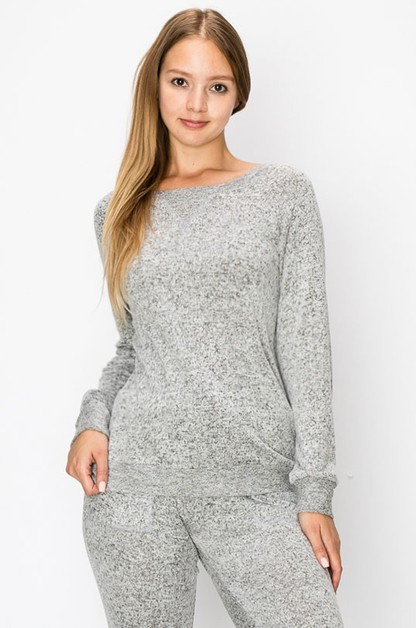 HACCI GREY SWEATER KNIT PULLOVER TOP - orangeshine.com