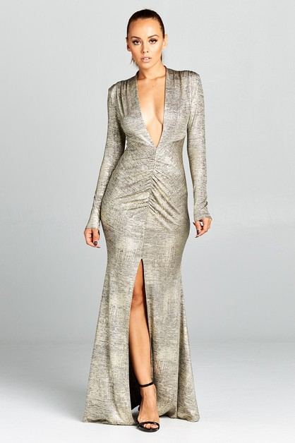 Long sleeve front slit mermaid dress - orangeshine.com