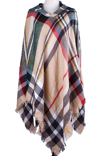 Classic Plaid Hooded Poncho - orangeshine.com
