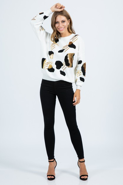 Sequined Leopard Pattern Sweater - orangeshine.com