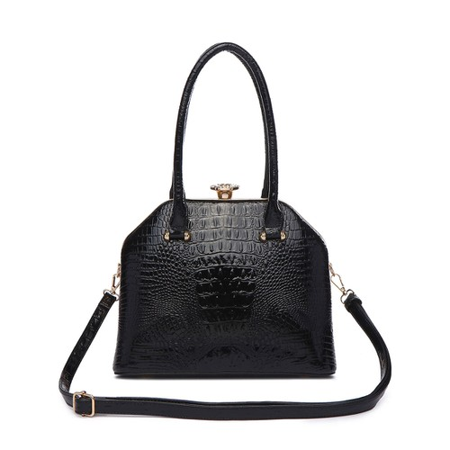 Croco Top Handle Satchel Bag - orangeshine.com