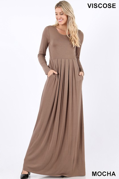 PLEATED WAIST DRESS WITH SIDE POCKET - orangeshine.com