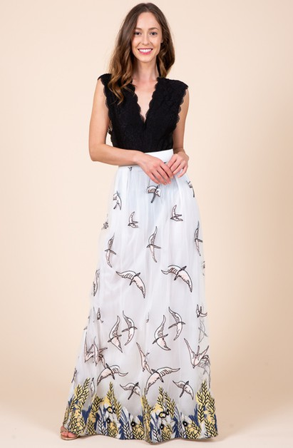 Bird Embroidery White Maxi Skirt  - orangeshine.com
