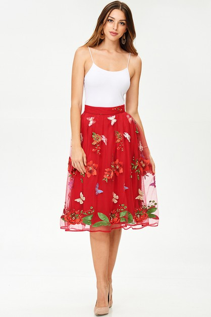 Embroidery Embellished Midi Skirt - orangeshine.com