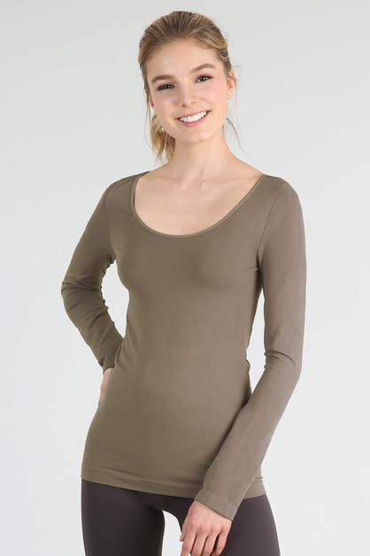 Long Sleeve Scoop Neck Top - orangeshine.com