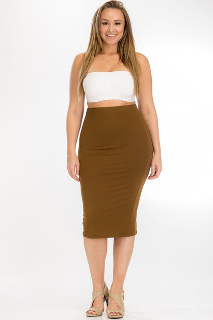 Plus Size Midi Skirt - orangeshine.com