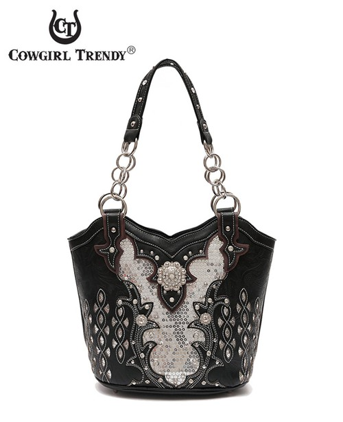 Studded Concho Tote Bag - orangeshine.com