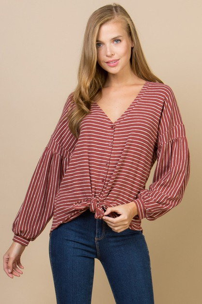 KNIT STRIPE BUTTON-DOWN CARDIGAN TOP - orangeshine.com