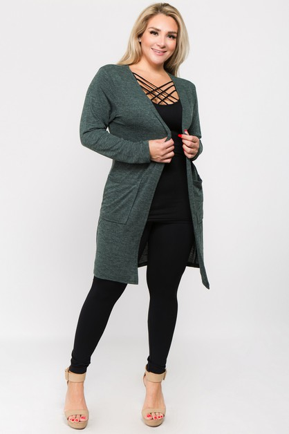Long Sleeve Knit Wrap Cardigan with  - orangeshine.com