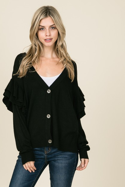 button-front cardigan with ruffle - orangeshine.com