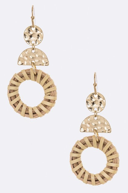 Straw Wrapped Iconic Drop Earrings - orangeshine.com