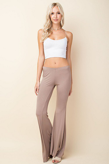 SOLID BELL BOTTOM KNIT PANTS - orangeshine.com