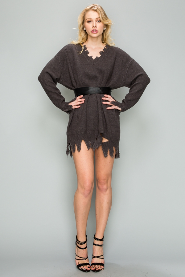Sexy Distressed Sweater Dress With R - orangeshine.com