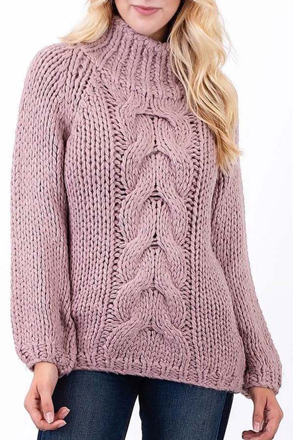 Crochet Cable Knit Turtleneck Sweate - orangeshine.com