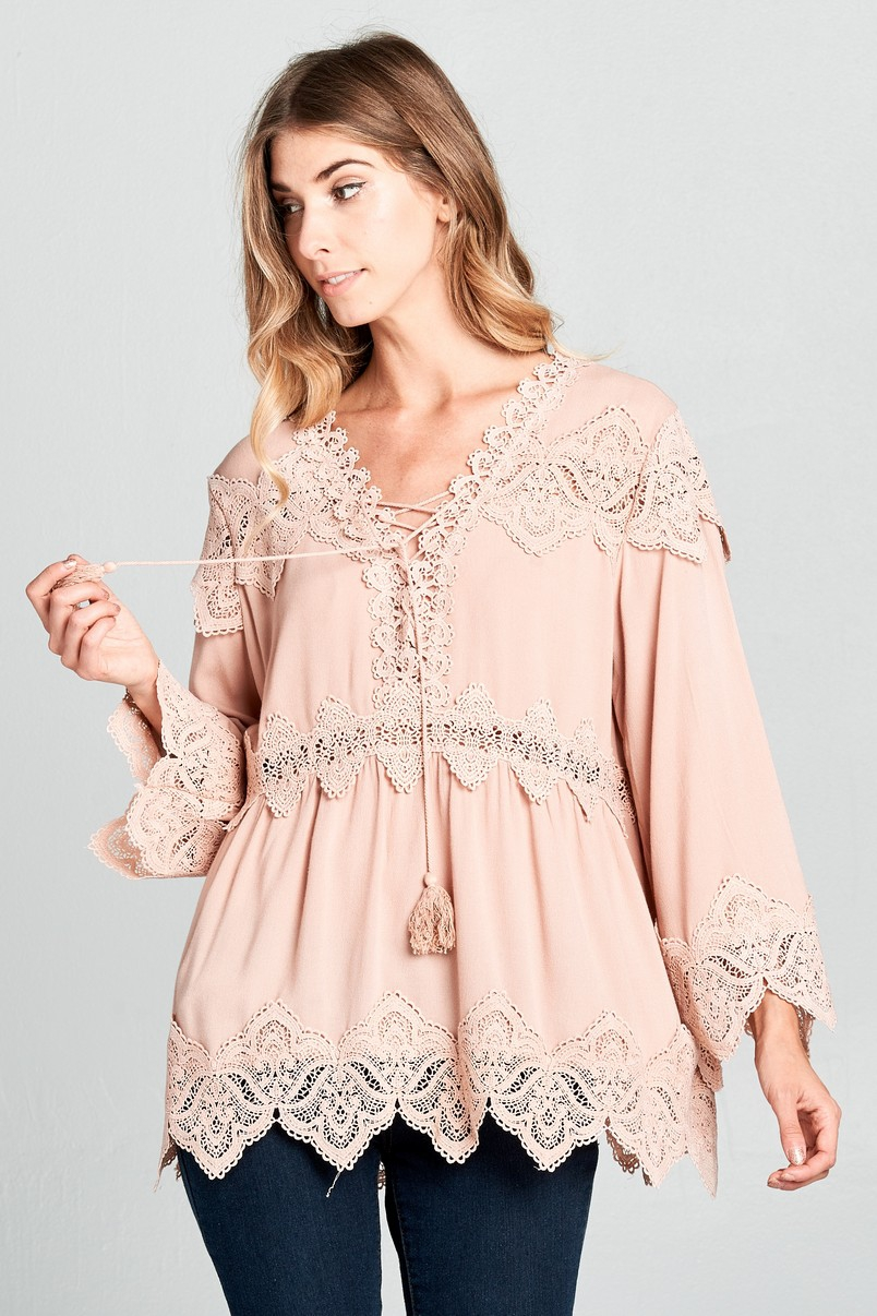 Bell Sleeve Lace Top - orangeshine.com