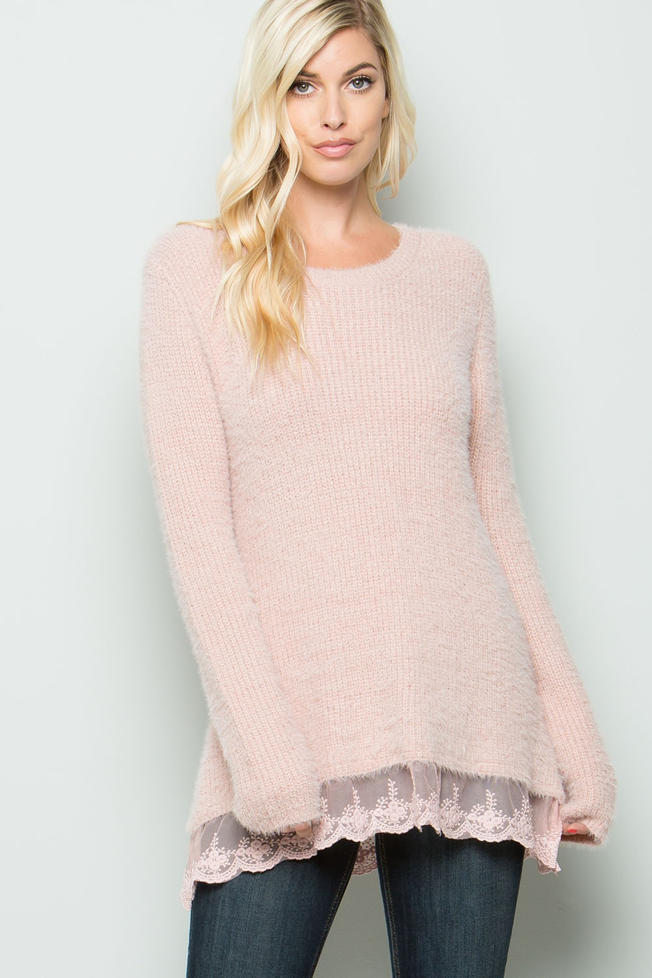 LACE TRIM PULLOVER SWEATER - orangeshine.com