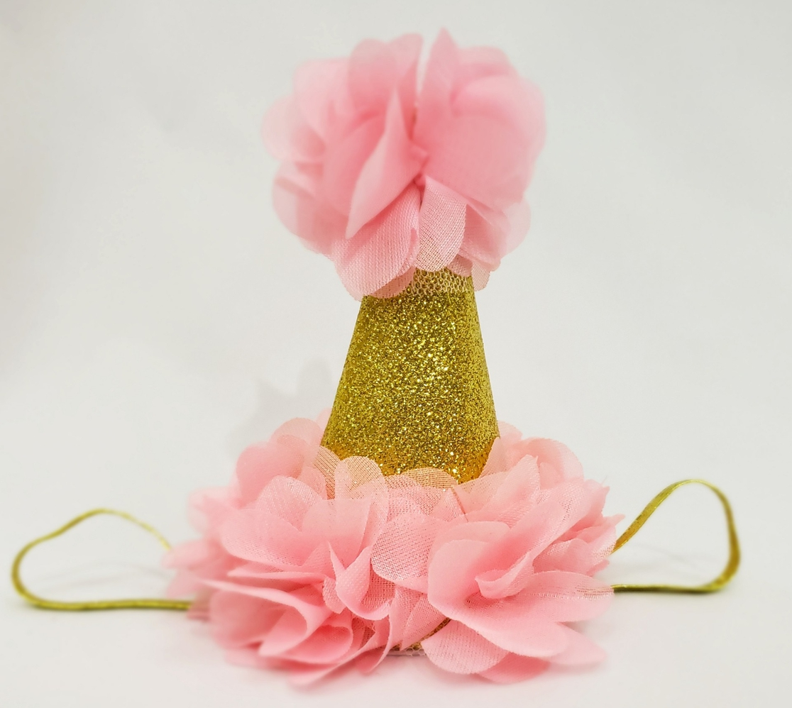 Party Hat Headband - Pink and Gold - orangeshine.com